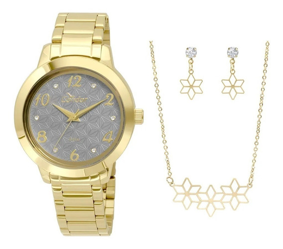 Kit Relógio Condor Feminino Dourado Banhado Co2036ksu/k4c
