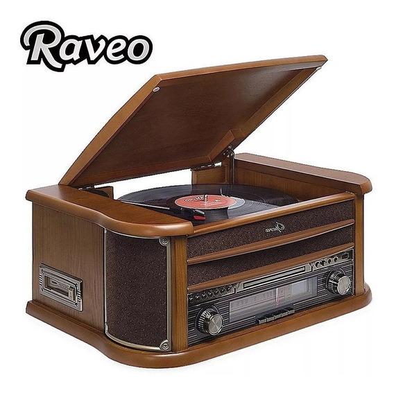 Toca Discos Raveo Ópera Cd Usb Radio Fita Cassete Bluetooth