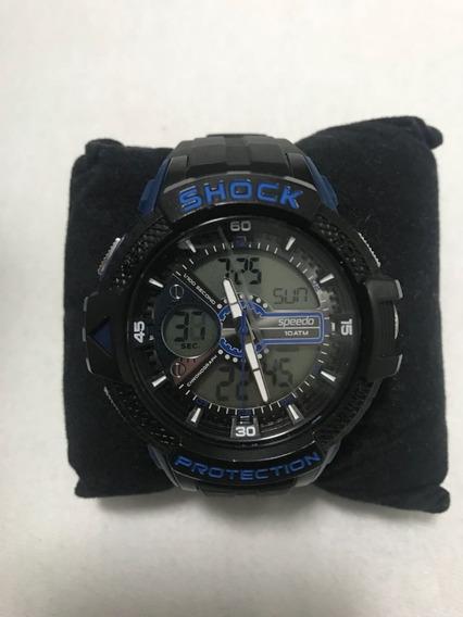 Relógio Marca Shock Azul E Preto