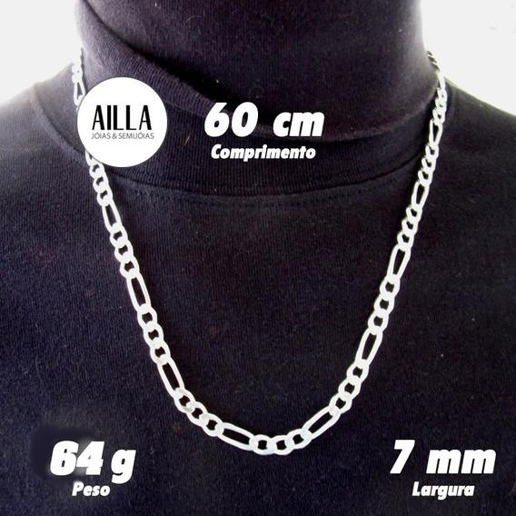 Corrente Cordão Prata 925 Masculina 3x1 Italiana 64g 60cm