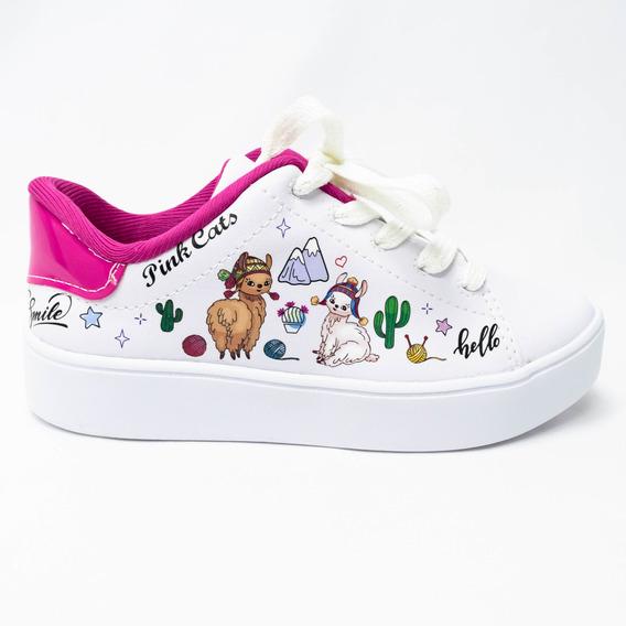 Tênis Pink Cats V1211 Bergamo Com Desenhos De Lhamas
