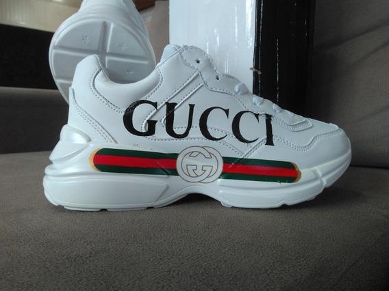 Tênis Gucci Rhyton Em Couro Branco