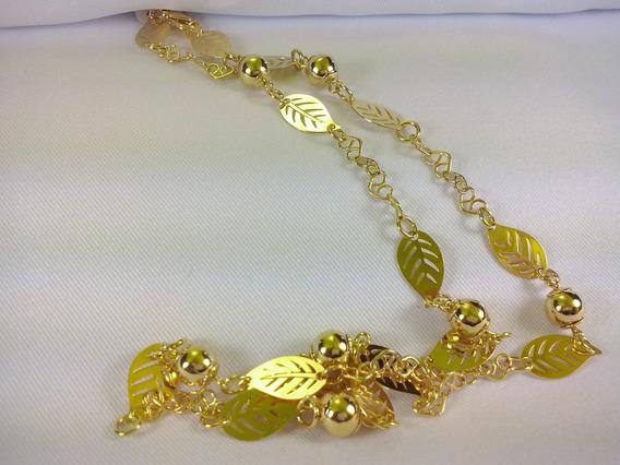 Colar Cordao Feminino 18k Folheado Ouro Folhas Sol Moda