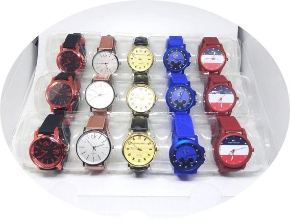 Kit Com 5 Relógios Coloridos Feminino + Estojo + Brinde Top