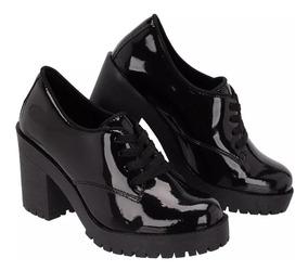 Sapato Feminino Oxford Salto Tratorado Preto Verniz