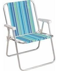 Cadeira De Praia Infantil Azul/rosa - Aluminio