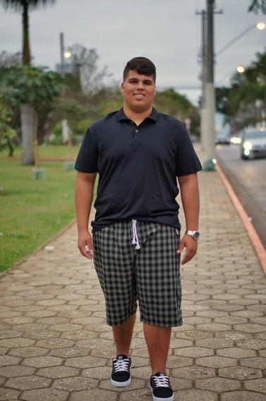 Bermuda Masculina Xadrez Com Elástico E Cordão Plus Size Xp Xm Xg G1 G2 G3 G4 5 1301