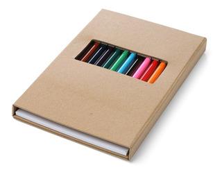 Set De 12 Lápices De Colores Tapa Dura Con Block De Hojas