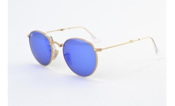 Óculos De Sol Ray Ban Round Dobrável Rb3532 001/68 Metal