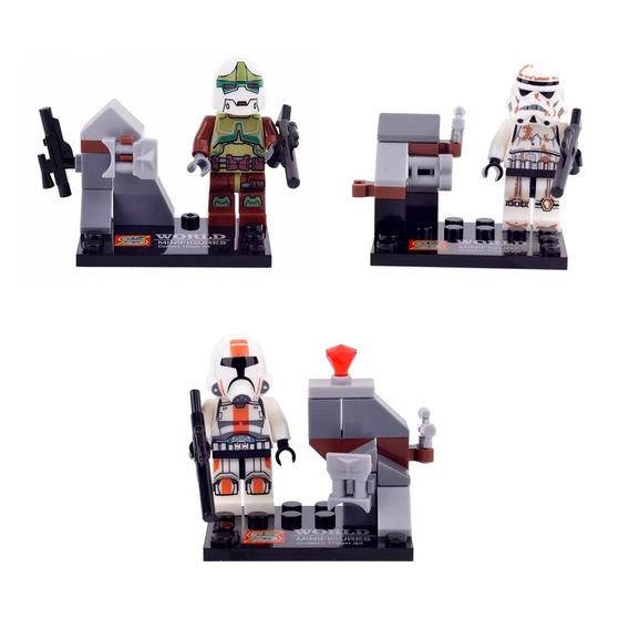 Blocos De Montar 1 Sandtrooper + 2 Clonetrooper Star Wars