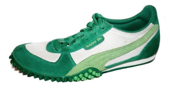 Tenis Puma T 24.5 - 4.5 Verde Con Blanco Running
