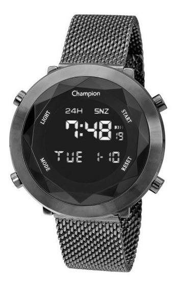 Relógio Champion Unissex Digital Ch48028c Grafite Redondo