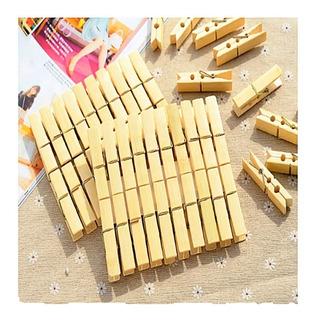 60 Pzas Pinza Tender Ropa Bambú Ecologica 60x12 Mm. Tendero