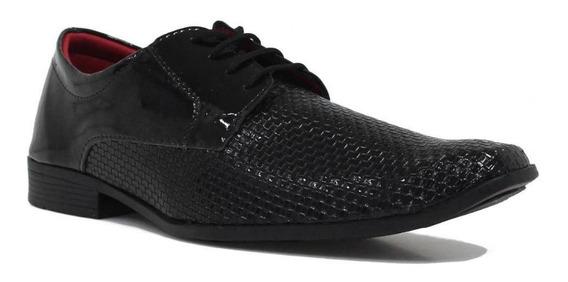 Sapato Eleganci Social Verniz Cadarço Preto