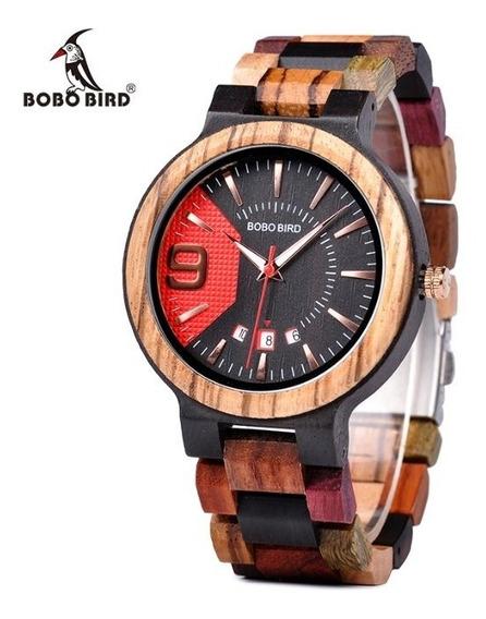 Reloj De Madera Bobo Bird Original Multicolor