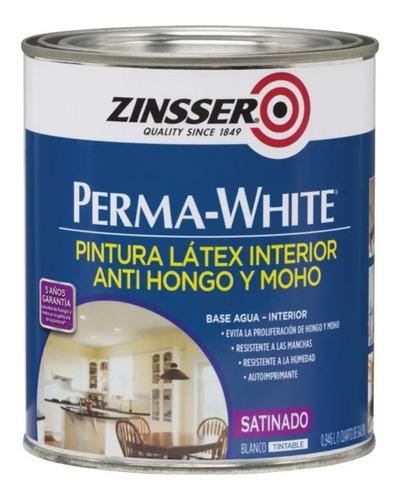 Imagen 1 de 6 de Pintura Perma White Satinado 4 Lt Zinsser Antihongos