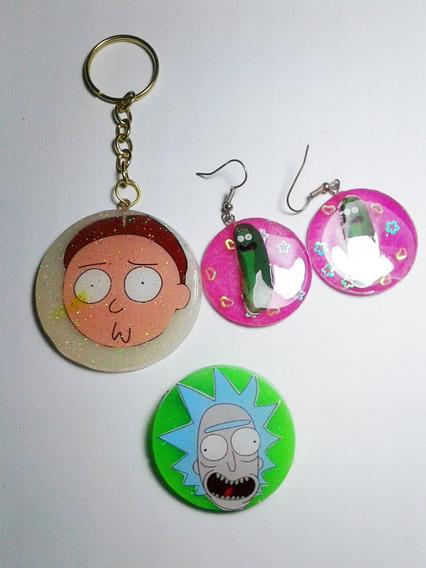 Rick And Morty Combo -un Pin, Un Llavero Y Un Par De Aros