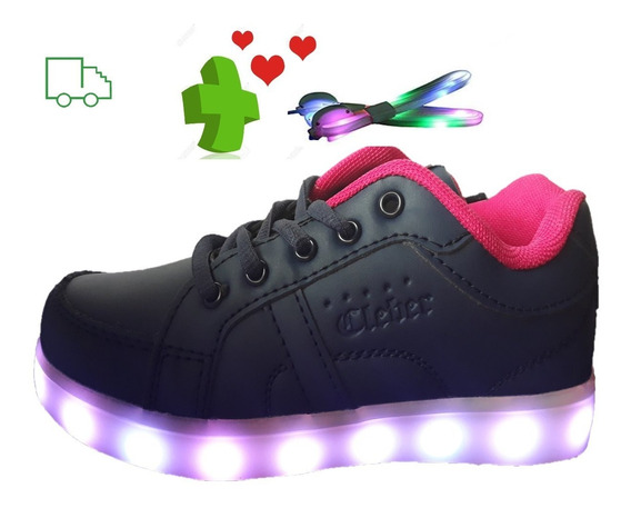 Zapatillas Con Luces Led Usb + Cordones Led Calzados Luz