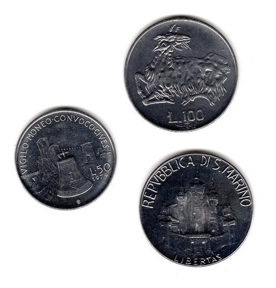 Bkz / San Marino Lote De 3 Monedas 50 & 100 Liras 1974-1984