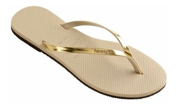 Sandália Havaianas You Metallic Dourada Rasteirinha Chinelo