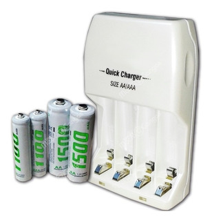 Cargador Baterías Recargables + Pilas Aa Y Aaa- Carga Rápida