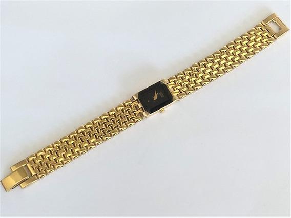 Relógio Fem Citzen Elegance Mini Raro 818017 Plaquê Ouro Sáfira