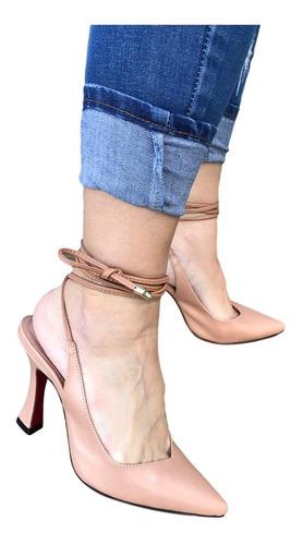 Imagem 1 de 2 de Scarpin Sapato Nude Chanel Salto Alto Taça Sola Vermelha 9cm