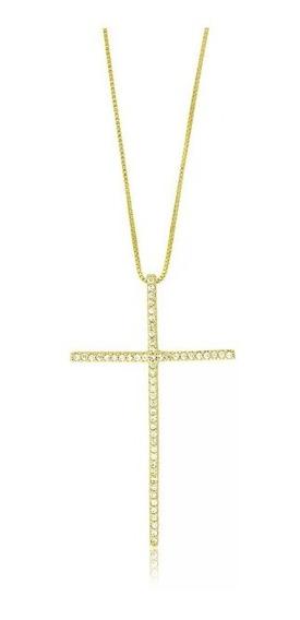 Colar Crucifixo Palito Zircônias Banhado A Ouro C/ Garantia