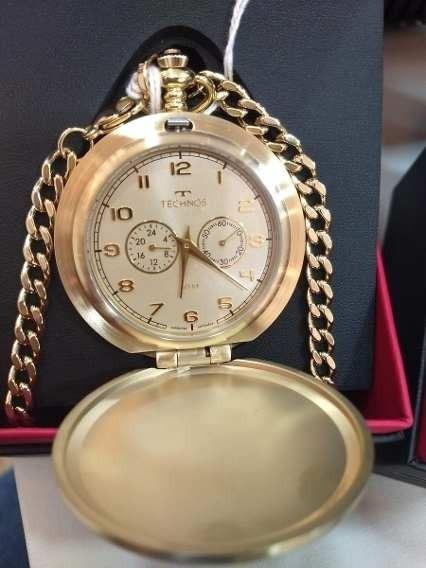 Relógio Technos De Bolso Masculino Vd77ac/4x Aço Dourado