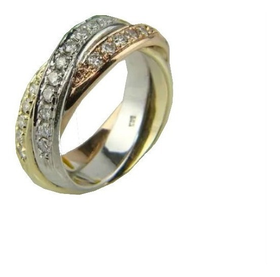 Anel Meia Aliança Em Ouro 18 Quilate E Diamantes
