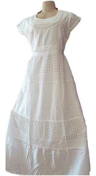 Vestido Longo Branco Bordado Laise Geométrico Festa Promoção