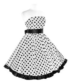 Vestido Bolinhas Pinup Retrô Vintage Anos 60