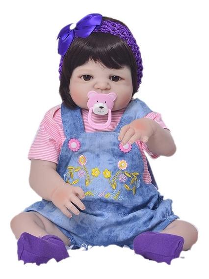 Boneca Bebê Reborn Menina Corpo Siliconado Mais Brinde 56 Cm