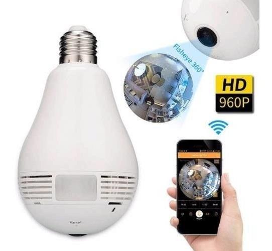 Lampa Câmera Espiã 360º Graus Com Audio Via Celular Ao Vivo