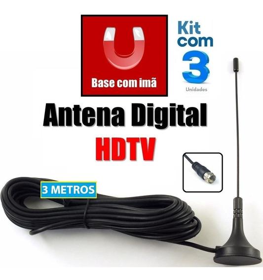 Mini Antena Compacta Hdtv Imã P/ Carro Caminhão 3 Unidades