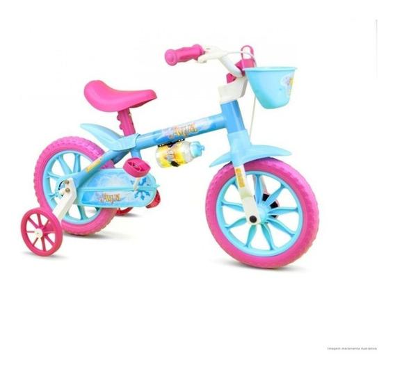 Bicicleta Infantil Nathor Aqua Aro 12 Com Cestinha