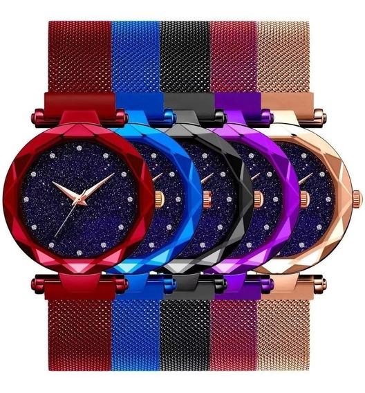 Relógio Feminino Pulseira Magnética Kit C/5 Céu Estrelado