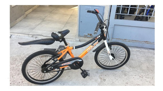 Bicicleta Rodado 20 Nene Stark Naranja Con Negro
