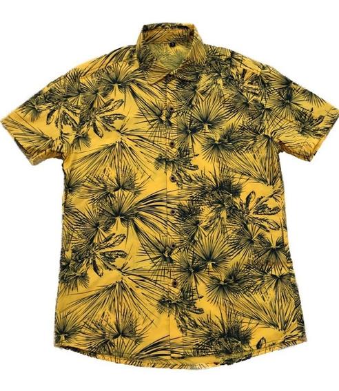 Camisa Masculina Casual Estampad Floral Havaiana Manga Curta