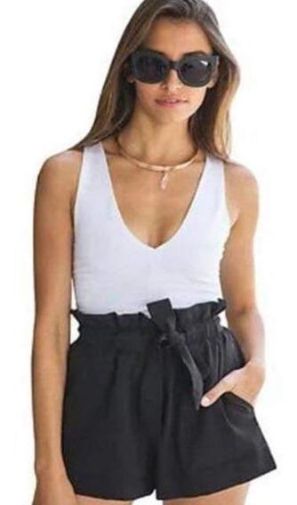 Short -fibrana Con Lazo-mujer