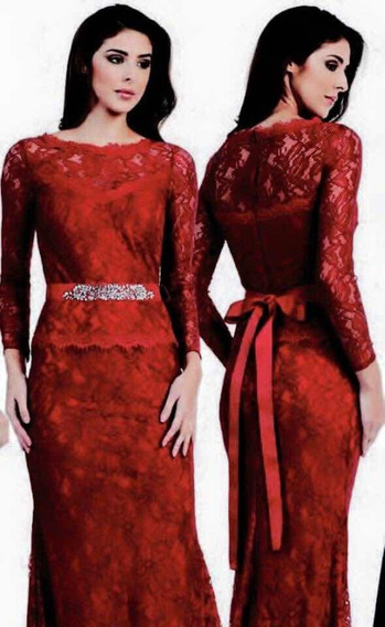 Vestido Elegante Rojo Quemado, Encaje Stretch. Barato !