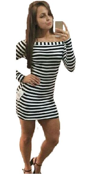 Kit 5 Vestido Listrado Ombro Manga Longa Preto Cinza