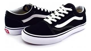 Tenis Vans W9t6bt Black/true White Old Skool 16-22 Niños