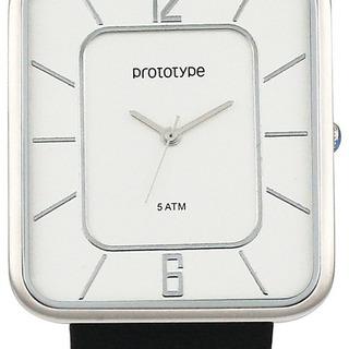 Reloj Prototype De Hombre, Bisel Color Plata, Fondo Blanco.