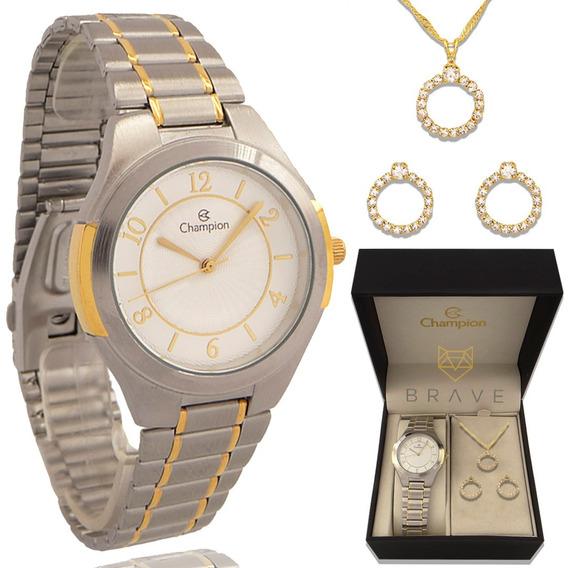 Relógio Champion Feminino Dourado E Prata + Colar E Brincos