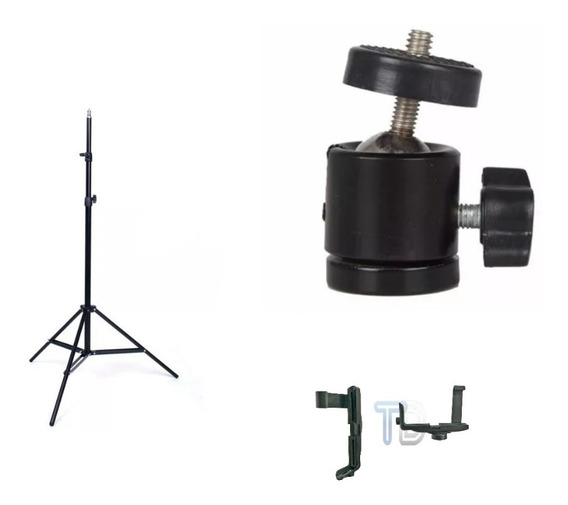 Kit Youtuber Tripé 2,0m Câmera Celular Pedestal Ring Light
