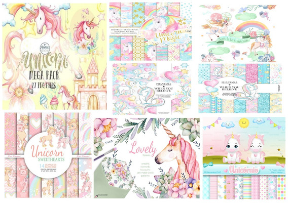 Scrapbook Unicornio Clipart Papel Digital + Brinde