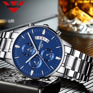 Reloj Nibosi 2309 Fondo Azul, Reloj Masculino, Moda Clásica
