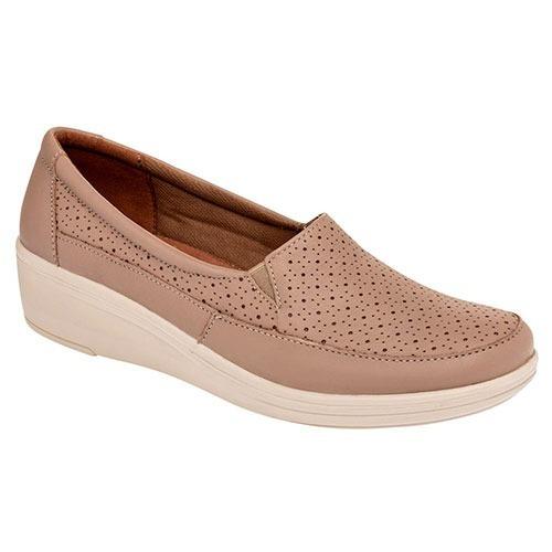 Zapatos Casual Flats Flexi Dama 4cm Piel Beige Dtt 26638
