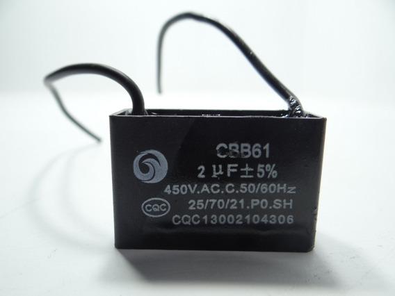 Capacitor Cbb61 2uf 450vac Fio 25/70/21